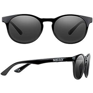 NECTAR Round Eye Polarized Sunglasses for Men & Women with Glare Blocking Lenses and UV Protection (Gloss Black Frame   Black Euphoric H D Polarized Lenses)