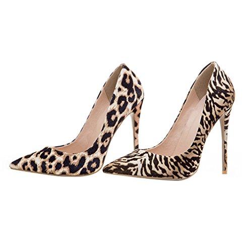 ENMAYER Womens High Heels Spitz Zehe Schuhe Slip-on Court Party Kleid Pumps Zebra-Muster