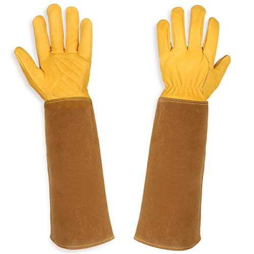 Lalafancy Gardening Gloves for Women and Men, Rose Pruning Thorn & Cut Proof Durable Cowhide Leather Gloves with to Protect Your Arms Until The Elbow