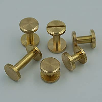 Bluemoona Solid Brass Screw Flat Head Button 10mm Stud Nail Chicago Leather Belt Shaft Length 20 Sets