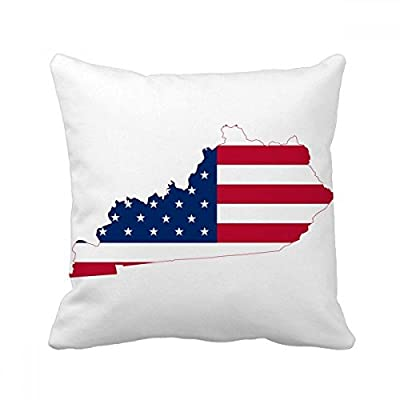 Kentucky USA Map Stars Stripes Flag Shape Square Throw Pillow Insert Cushion Cover Home Sofa Decor Gift