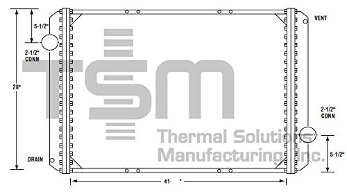 TSMUSA All Metal Radiator for International 2554 (1994-2002), International 2574 (1994-2003), International 2654 (1994-2002), International 2674 (1994-2003), International 5000 (1996-1999), Internatio (Thermal Radiator)
