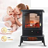 LIFE SMART Quartz Infrared Electric Fireplace Stove Heater with Remote Control - Electric Space Heater with Adjustable Thermostat for Office and Home 1500W