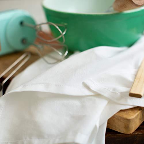 COTTON CRAFT Prep Set of 12 Multipurpose Pure Ringspun Cotton Flour Sack Low Lint Kitchen Towels, White
