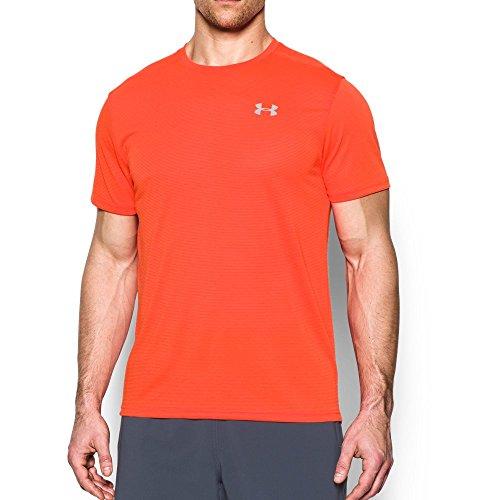 Under Armour Men's Threadborne Streaker Short Sleeve Shirt, Phoenix Fire /Reflective, Medium
