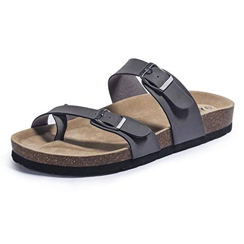 FITORY Womens Sandals Flat Toe Loop Cork Slides with Adjustable Strap Buckle for Summer Grey