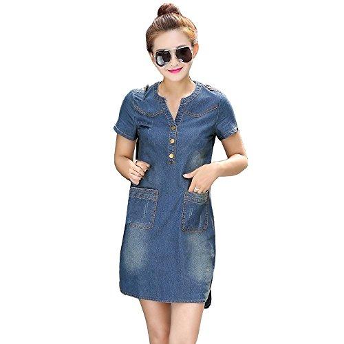 Women Button Down Denim Dress Ladies Belted Jeans Long Top Shirt Dress