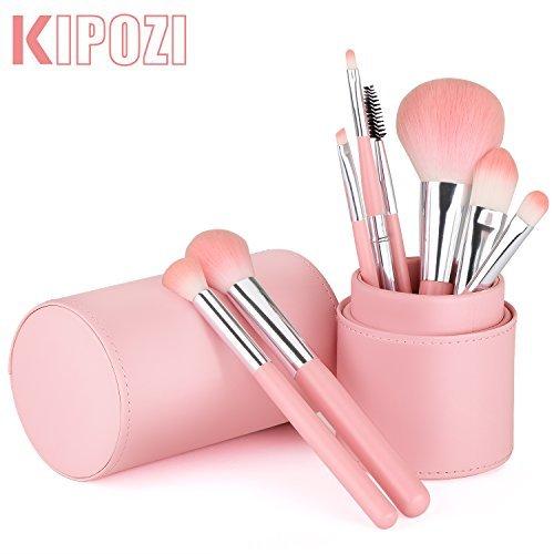 KIPOZI Premium Makeup Brush Set, Synthetic Kabuki Foundation Powder Contour Blush Eye Blending Cosmetic Brush Kits with Holder (8pcs, Pink) -