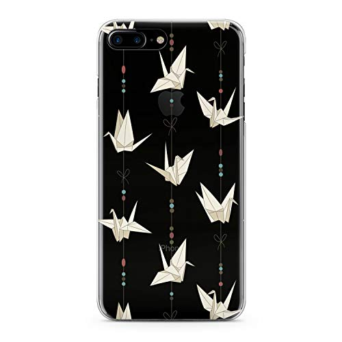 Lex Altern TPU Case for iPhone Apple Xs Max Xr 10 X 8+ 7 6s 6 SE 5s 5 Bird Origami Soft Flexible White Print Slim fit Paper Lightweight Handmade Hobby Clear Garland Gift Cover Design Abstract Smooth -