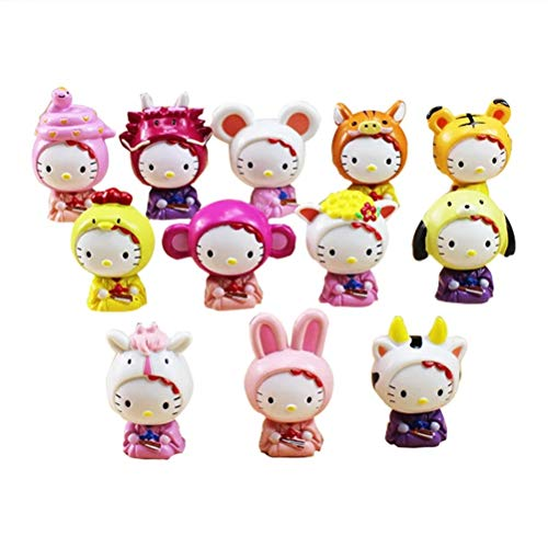LVCL Ltd 12Pcs/Lot Baby Doll Hello Kitty Figures Chinese Zodiac KT PVC Figure Toys Birthday Gift for Children
