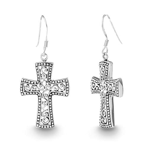 Sterling French Cross Silver (Willowbird Women's Beaded Cross French Wire Earrings In Oxidized Sterling Silver)