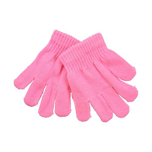 Pink Kids Gloves Magic Knit Gloves for Girls/Boys Solid Colors