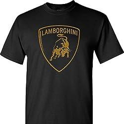 Lamborghini Logo in Gold on a Black T Shirt, Black