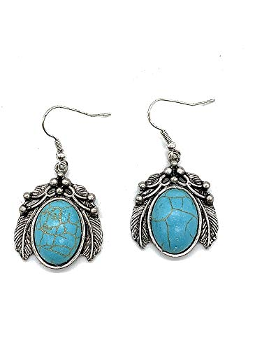 Jayde N' Grey Turquoise Color Western Navajo Squash Blossom Earrings Pierced (Double Feather Turquoise)