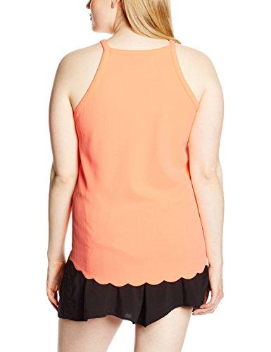 New Look Curves Scallop High Neck Cami - Top Mujer Naranja (Neon Pink)
