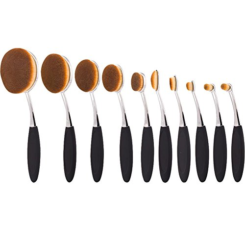 Colorful Minerals Collection (Summifit 10 Pcs Soft Oval Brush Set with Box Foundation Eyeliner Blush Contour Cream Powder Professional Makeup Brushes Set Cosmetics Tool (Black Bright Silver))