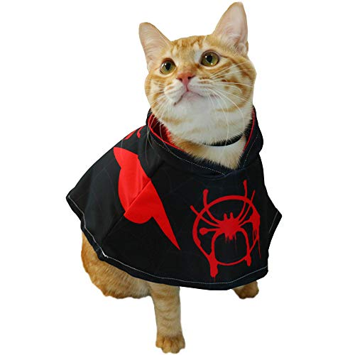 YuDanae Spiderman Cloak Poncho with Hood for Pet Cat Small Dog Cosplay Costume Apparel (Black Miles)]()