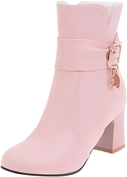 Ankle CIELLTE Boots Chelsea Femme Femmes Talon Bottine Rose TlJ3FK1c