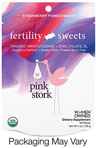 Pink Stork Fertility Sweets: Supports Fertility, Strawberry-Pomegranate, Hard Drops with Folate, Zinc, Vitamin B6, USDA Organic, Non-GMO & Preservative Free, 30 Individually Wrapped Hard Sweets (Best Supplements To Get Big)