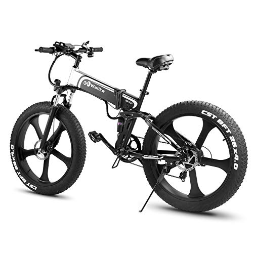 W Wallke 26 inch Fat Tire EBike 48V10.4AH Snow e-Bike 750W Mountain Electric Bicycle 48V Adult Auxiliary E-Bike Folding