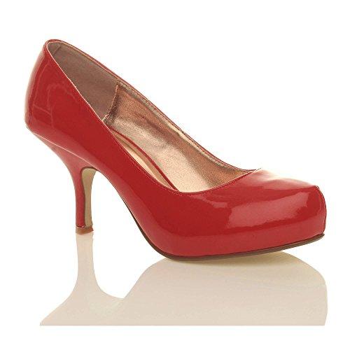 taille bas à Vernis moyen travail Rouge chaussures Femmes élégant escarpins soignée talon wtqIxEzP