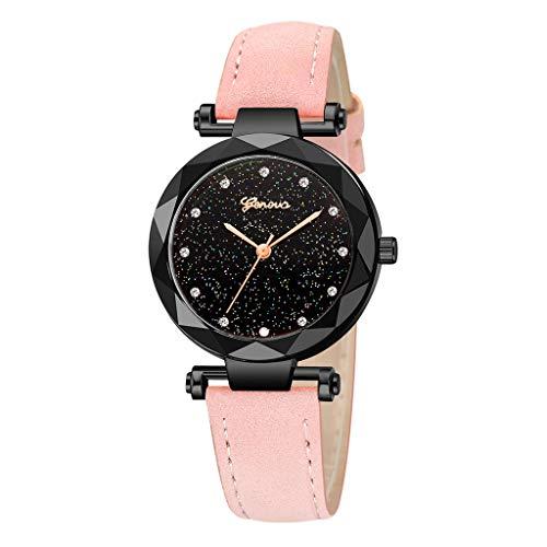 Londony✡Women's Watches Leather Rhinestone Inlaid Quartz Jelly Wristwatch Geneva Chronograph Watch with Crystals Link ()