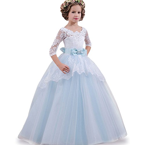 LZH Girls Dress White Lace Princess Wedding Party Ball Gown Dresses Blue 150(for Age - Dress Girl White Baby Blue And