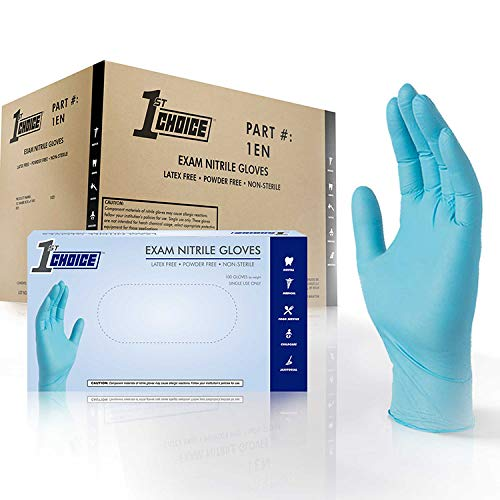1st Choice Blue Nitrile 3 Mil Thick Disposable Gloves, Medium, Case of 1000 - Medical/Exam Grade, Latex-Free