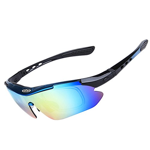 SINAIRSOFT Polarized Cycling Sunglasses Outdoor Sports Glasses with 5 Replacement Lenses (blue&black, - Ray Glasses Band
