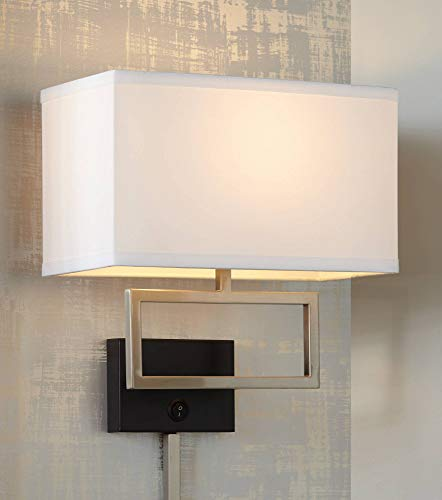 Trixie Brushed Nickel Rectangle Plug-in Wall Lamp - Possini Euro Design