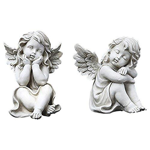 Napco Whimsical Cherubs Concrete Look 5.75 x 7 Resin Stone Garden Figurines, Set of 2 (Cherub Garden Statues)