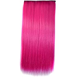 Stepupgirl Hair Extension 24 Inch Hot Pink Color Straight Full Head Synthetic Clip in Wig Hairpiece