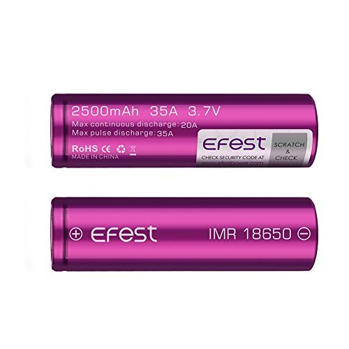 2 Efest Purple IMR 18650 2500 Mah 35a 3.7v Rechargeable Flat Top Batteries