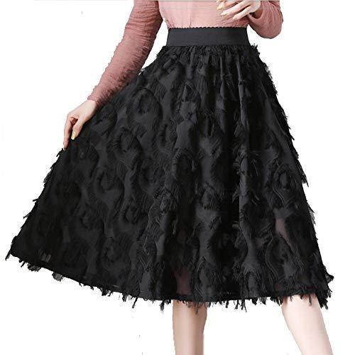 De Black La Nuevo Alta Wsad Mitad Primavera Mujer Vestido Cientos Costura Pliegues Cintura Falda 2019 Longitud Plumas aEaU5wqd