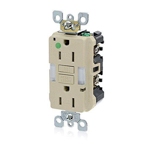 - Leviton GFNL1-HGI 15A-125V Hospital Grade Tamper-Resistant Guide Light Duplex Self-Test GFCI Receptacle, Ivory, 15-Amp