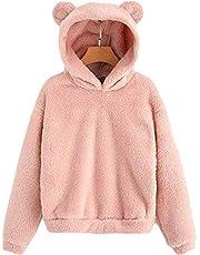 Enfei Vrouwen Roze Mooie met Beren Oren Fleece Solid Hoodie Truien Gilrs Lange Mouw Casual Sweatshirts