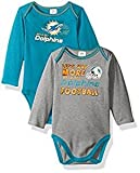 Gerber Childrenswear NFL Miami Dolphins Boys Long Sleeve Bodysuit (2 Pack), 18 Months, Aqua