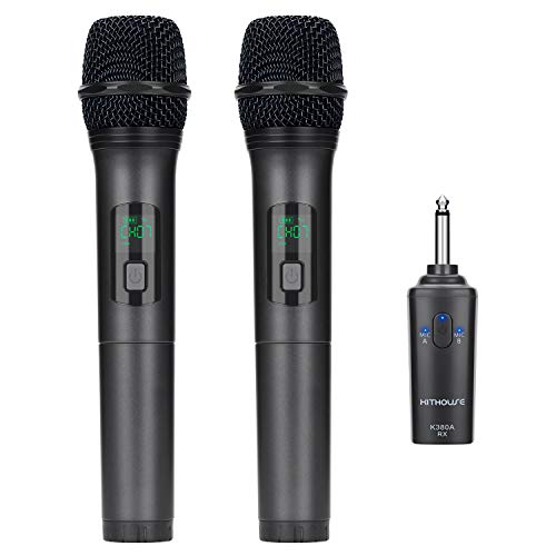Kithouse K380A Wireless Microphone Karaoke Bluetooth Microphone Wireless With Rechargeable Receiver System - UHF Dual Handheld Dynamic Mic Set For Karaoke Singing Speech Church (Elegant Black) ()