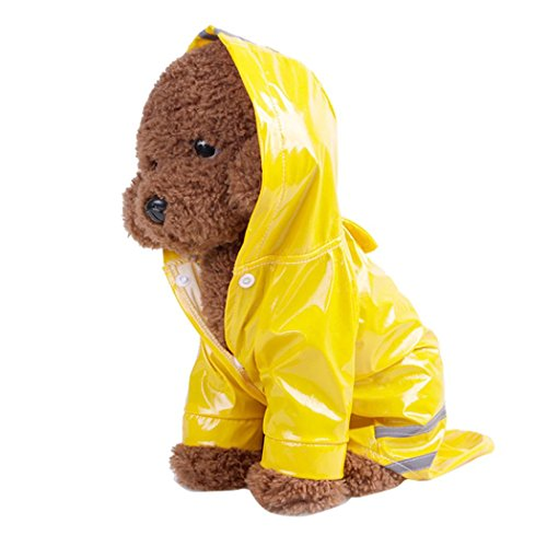 Pet Raincoat Daoroka Small Pet Dog Cat Hoodie Hooded Clothes Waterproof Jacket Outdoor Coat Costume Fashion Cute Apparel (M, Yellow)]()