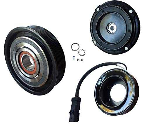 AC Compressor Clutch Kit (PULLEY, BEARING, COIL, PLATE) FOR Dodge Ram 1500 8 CYL 5.7L 10S17E 2003 2004 2005 2006 2007 2008 ()