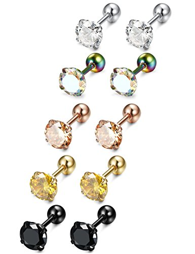 LOYALLOOK 5 Pairs Stainless Steel Cubic Zirconia Stud Earring Ear Piercings for Women Girls 5 Colors 5mm (Stud Threaded 50)