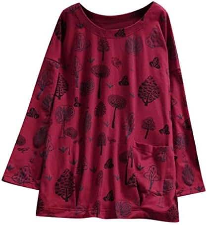 QIQIU Women Fashion Pocket Lapel Long Sleeve Floral Print Plus Size Long Loose Shirts Blouses