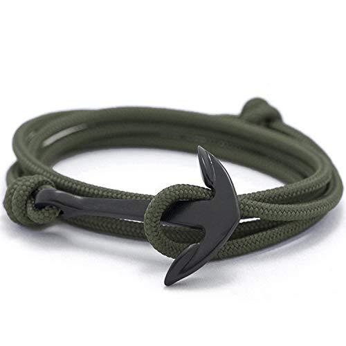(Flexo Fitness Matte Handmade Motivational Black Plated Nylon Adjustable Wrist Rope Anchor Bracelet for Men and Women - Army Green)