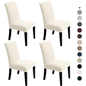 Chair Covers For Dining Room – Stretch Chair Slipcovers for Decorative Seat Protector Water-repellent Armless Removable…