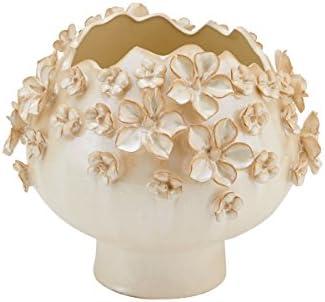 Elements Cream Sprinkled Flower Vase, 9-Inch