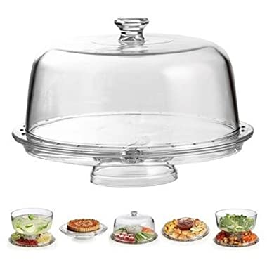 Palais Glassware High Quality Clear Glass Multifunctional Cake and Serving Stand - Elegent Punch Bowl and Serving Base, Salad Bowl or Condiment Dish - Chip and Dip Tray - Cake Stand with Dome Cover