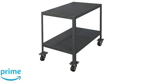 2000 lbs Capacity Durham Steel Mobile Medium Duty Machine Table 60 Length x 24 Width x 30 Height MTM246030-2K295 2 Shelves