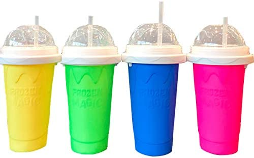 DIY Slushy maker Silica Cup Double Layers Cup Smoothie Pinch Ice Cup Silicone Halloween Magic Cup Portable Squeeze Icy Cup(Blue)