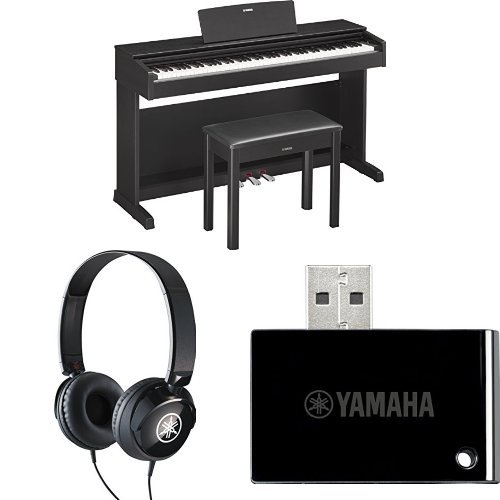 Yamaha YDP143B Arius Series Console Digital Piano, Black, with Yamaha Bench, Headphones, and MIDI Adapter