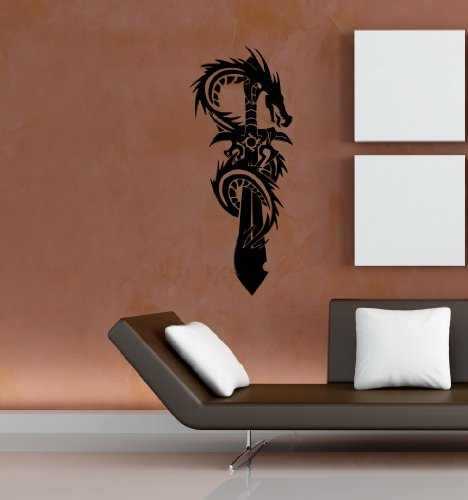 Wall Mural Vinyl Sticker Decal Tribal Style Dragon and Sword N629